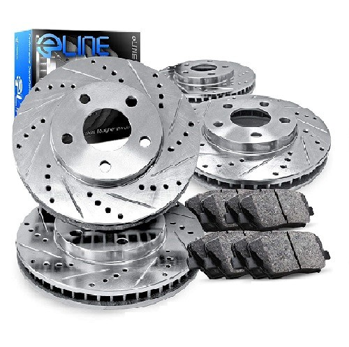 R1 Concept Jeep Wrangler Front Rear Brake Rotors Kit + Ceramic Pads