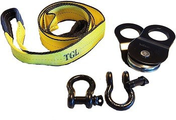 TGL Tow Strap with 2-Pack D Ring Shackles and 10 Ton Snatch Block