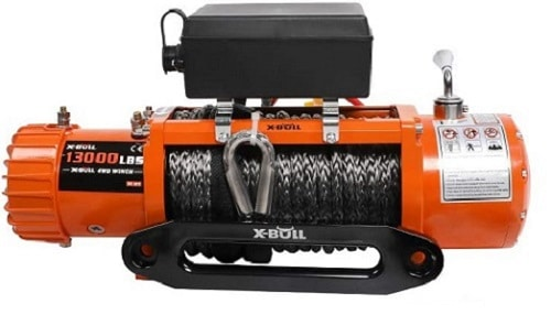 X-BULL 12V Synthetic Rope Winch-13000 lb Load Capacity