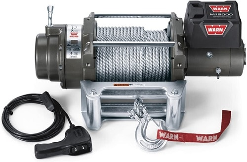 WARN 265072 Heavy Duty 24V M12000 Winch with Steel Cable Wire Rope