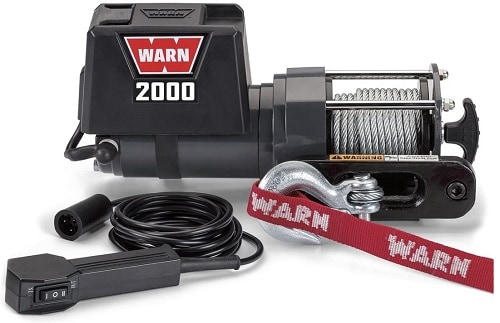 WARN 92000 Vehicle Mounted 2000 Series 12V DC Electric Utility Winch with Steel Cable