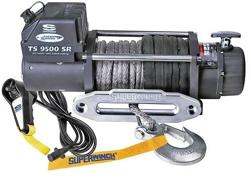 Superwinch 1595201 Tiger Shark 12V Winch with Aluminum Hawse and Synthetic Rope