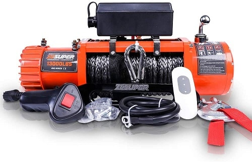 ZESUPER 12V 13000-lb Load Capacity Electric Truck Winch Kit Synthetic Rope