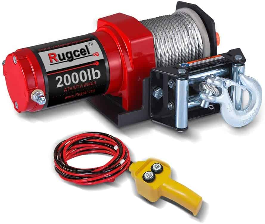 RUGCEL Electric 12V 2000lb Single Line Waterproof Winch